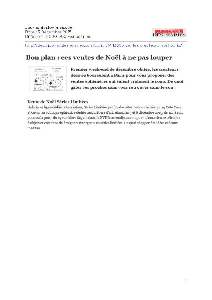 Journal des femmes - 03.12.2015