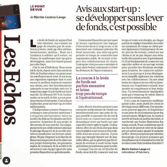 Tribune publiée dans Les Echos le 9 mai 2019, signée par Martin Canton-Lauga, CEO d'Hubvisory